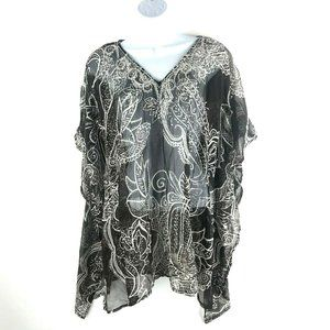 NWT Chicos Tressa Poncho Top Floral Embellished